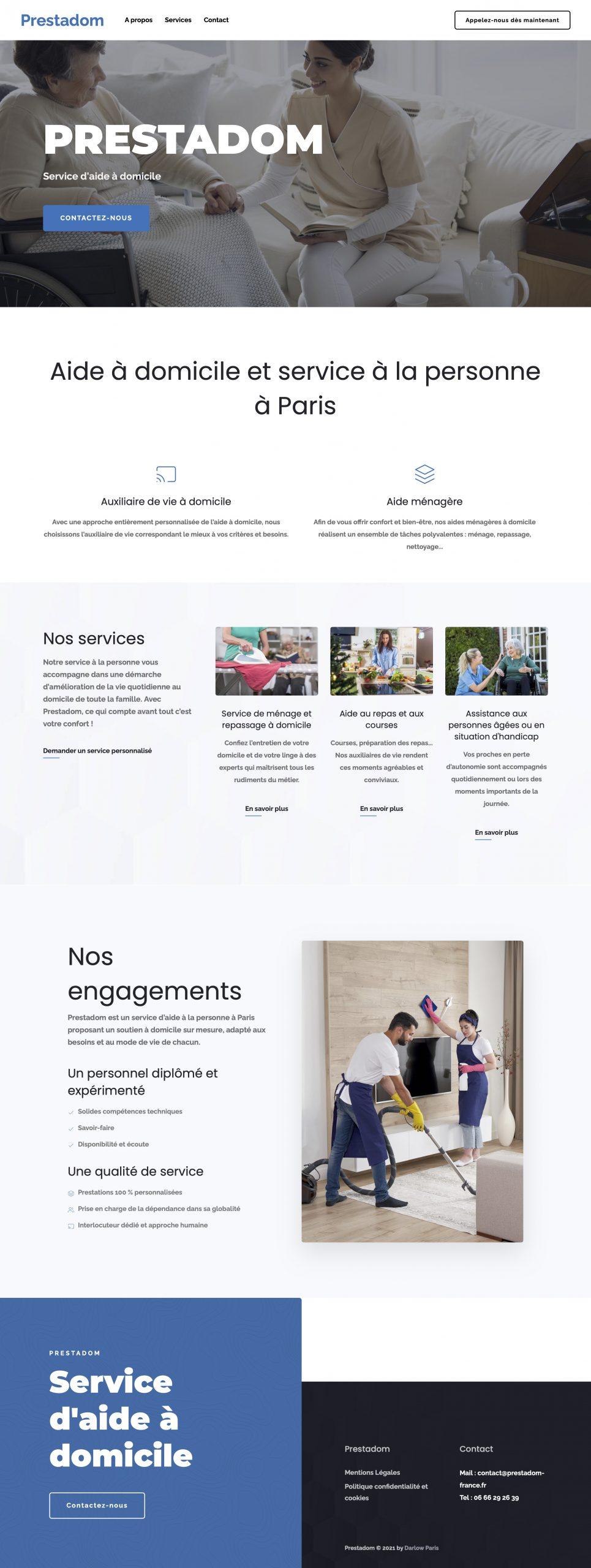 Prestadom – Service d'aide à domicile - Darlow Paris - Site vitrine